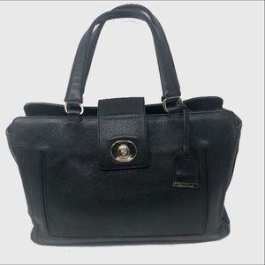Cole Haan black pebbled leather satchel
